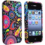 eForCity TPU Rubber Skin Case compatible with Apple® iPhone® 4 / 4S, Black / Colorful Fish and Circles