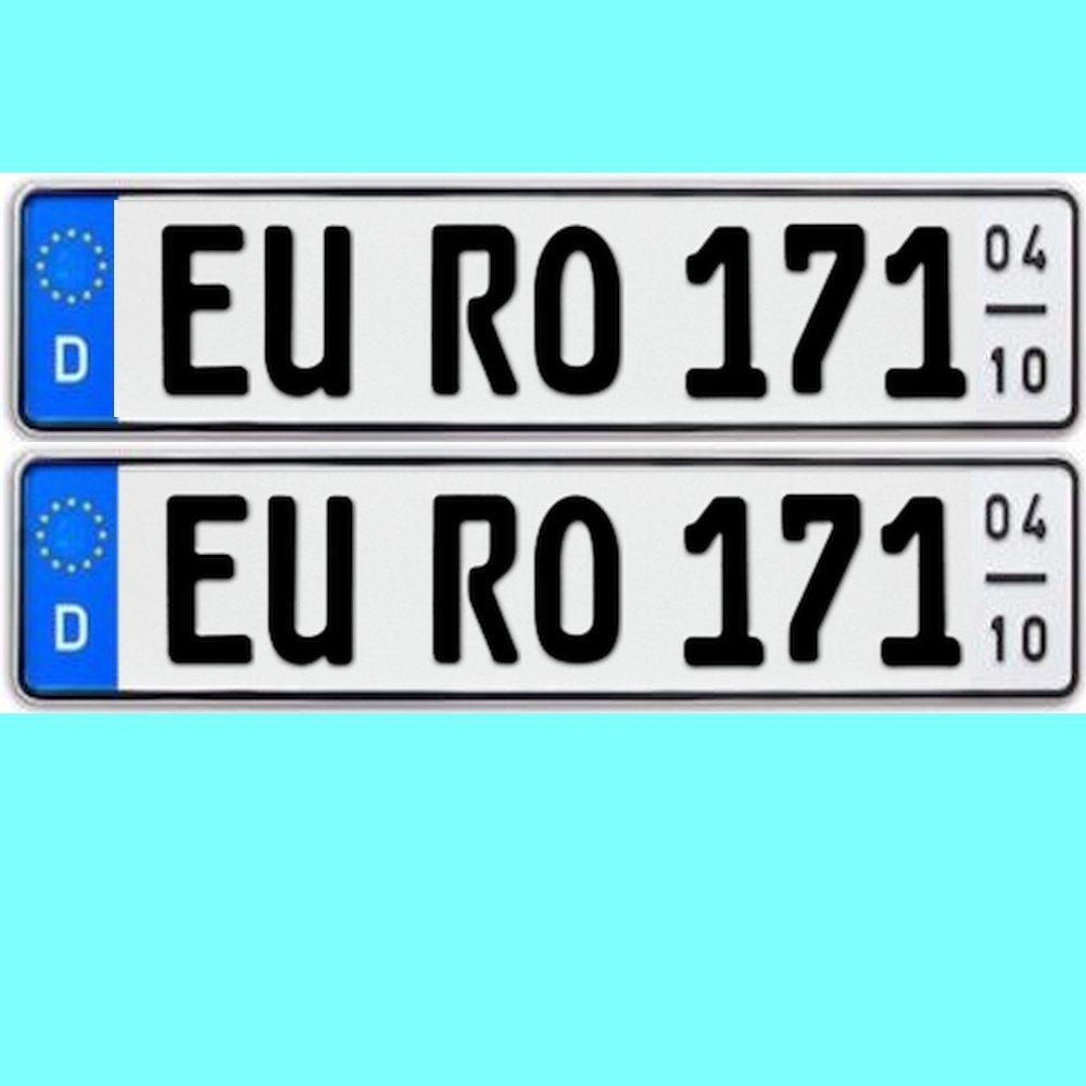 2 x Kfz Kennzeichen Saisonkennzeichen Saison Autoschilder Autokennzeichen mit individueller Prä gung nach Ihren Vorgaben + KFZ Schein Schutzhü lle TEILE-24.EU Malinowski
