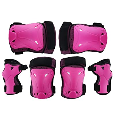 No-branded Protective Gear Sets Boys Girls Cycling Adjustable Helmet Safety Pads Set and Wrist Guards Outdoor Sports Protective Gear Set ZRZZUS (Color : Pink, Size : S): Home & Kitchen