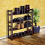 D-ART COLLECTION Veranda Shoe Rack with 4 Tier Shelf, Dark Brown