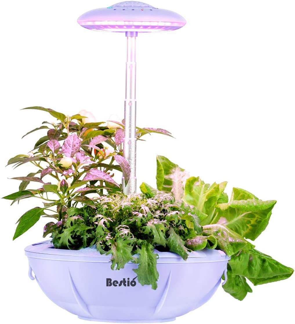 Bestio Indoor Herb Garden Plant Flower Starter Smart Grow System with LED Grow Light Auto Lighting Self-Watering Natural Full Spectrum for Indoor Seed Herb Plant Growing-Purple