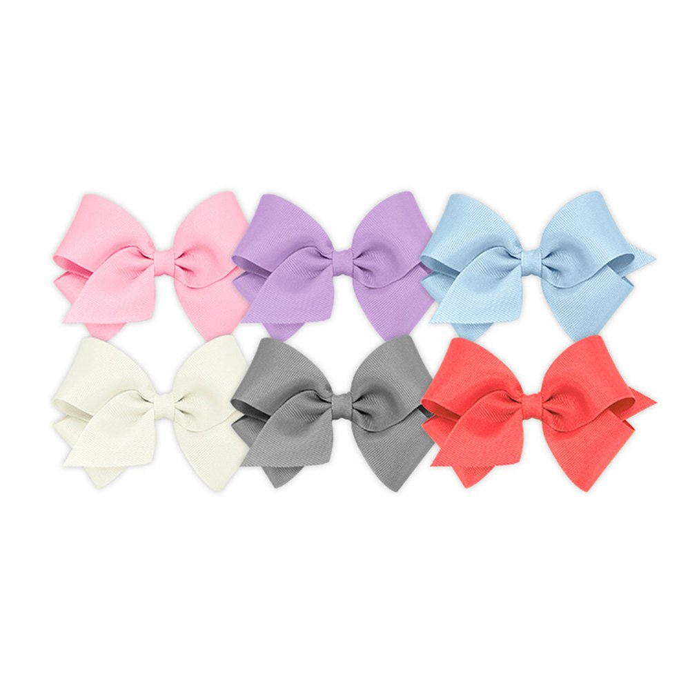 Wee Ones Girls' Small Bow 6 pc Set Solid Grosgrain Variety Pack on a WeeStay Clip - Pearl Pink, Light Orchid, Millennium Blue, Antique White, Gray and Watermelon
