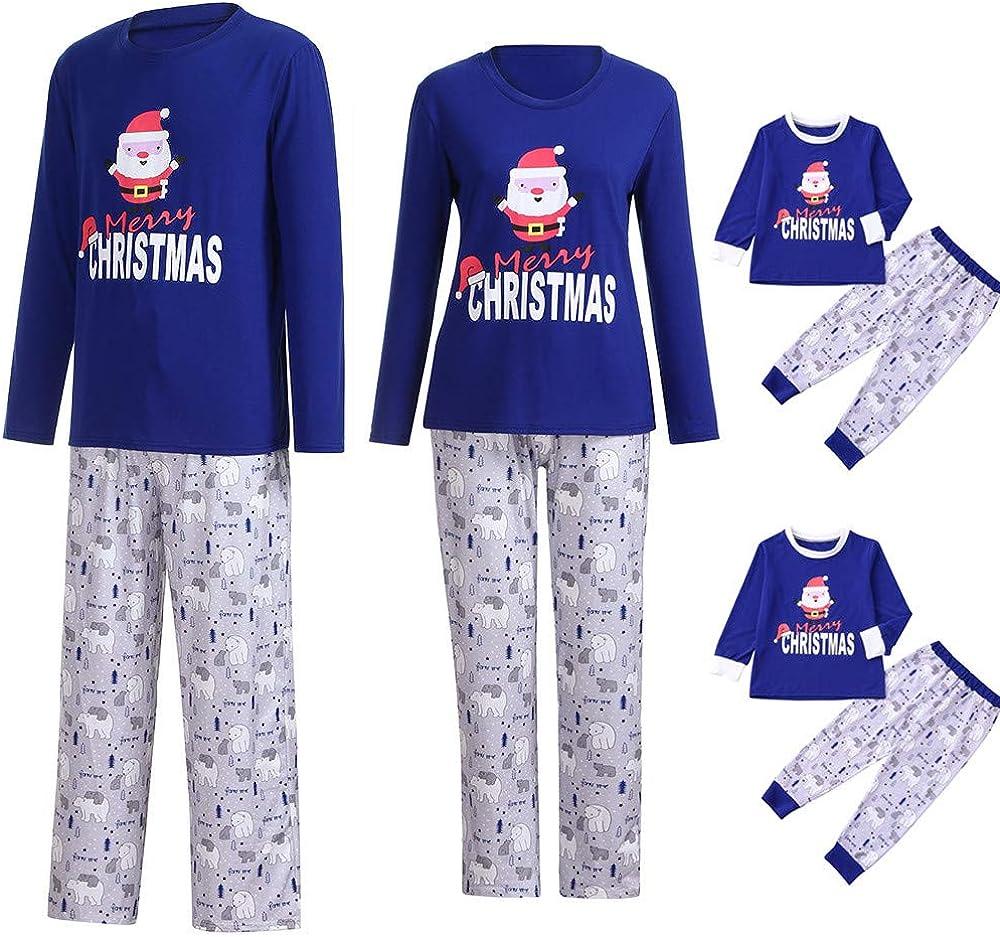 Mlide Blue Family Pajamas Set,Merry Christmas Santa Claus Polar Bear Print Shirt Pants Set