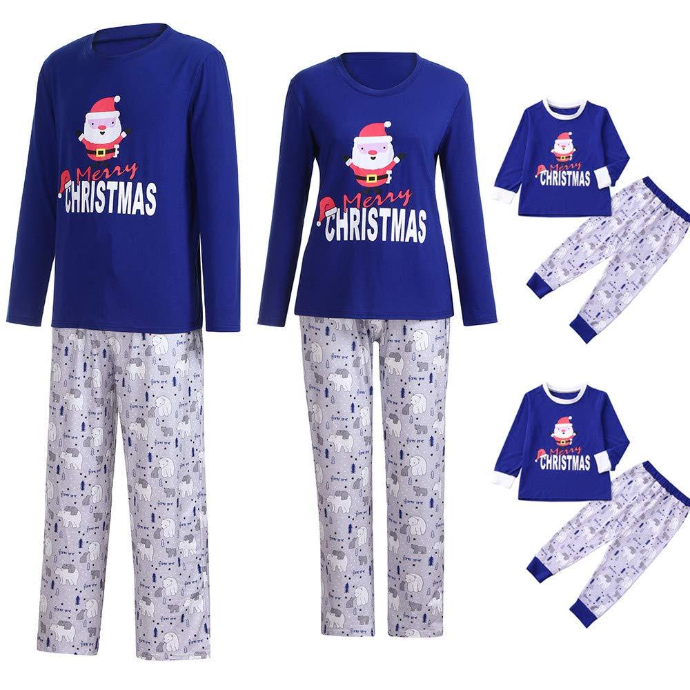 Parent-Enfant 2 PCs Ensembles de Pyjama Sleepsuit Tops + Pantalons Vêtements de Nuit Noël Bébé Peignoirs, QinMM Romper Petit Mouton Père Noël Impression Père Mère Garçon Fille sous-vêtements