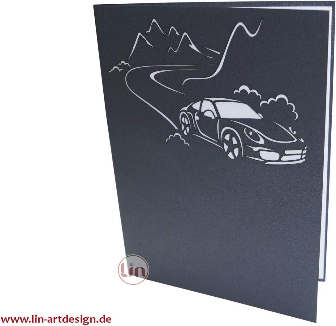 LIN-POP UP Karten Gru/ßkarten 3D Karten Geburtstagskarten Gl/ückwunschskarten F/ührerschein Auto