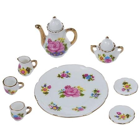 1d8245a0446e4 SODIAL(R) 8pcs 1 6 Dollhouse Miniature Dining Ware Porcelain Dish Cup Plate  Tea Set---Pink Rose  Amazon.co.uk  Kitchen   Home