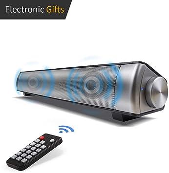 Barra de Sonido, Barra de Sonido Envolvente Bluetooth inalámbrica y por Cable para TV/PC/Tableta/Teléfono Inteligente, Altavoz de TV para Cine en casa con Cable AUX/RCA con Control Remoto (Gris): Amazon.es: Electrónica