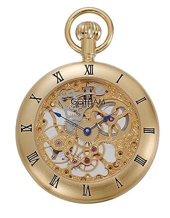 Gotham reloj para hombres mecánicos reloj de bolsillo con soporte de sobremesa # gwc14054g-st: Amazon.es: Relojes