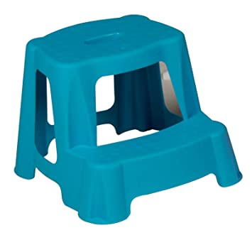 Blue Kids Step Stool Bathroom Plastic Potty Training Double Steps Children Toilet Baby Toddler Strong 35
