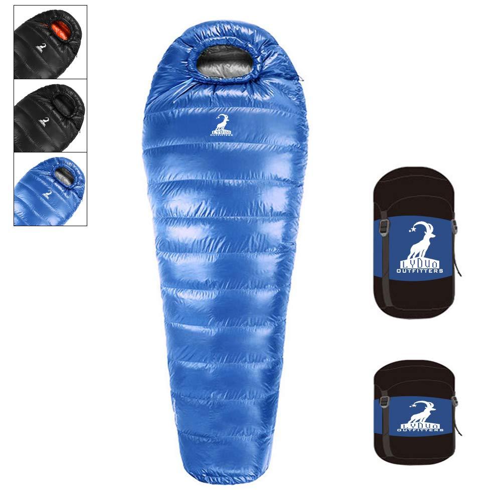 LYDUO Saco de Dormir Tipo Momia Plumas Invierno Extremo -10ºC Adulto 4 Estaciones Saco de Dormir,Extra cálido y Ligero, Compacto, Resistente al Agua y con ...