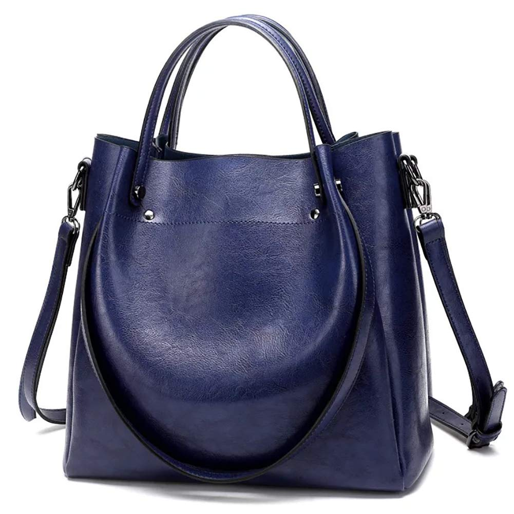 Satchel Handbags for Women, Large Capacity Tote Bags - Fashion PU Leather Shoulder Top Handle Bag Crossbody Handbag (dark blue)