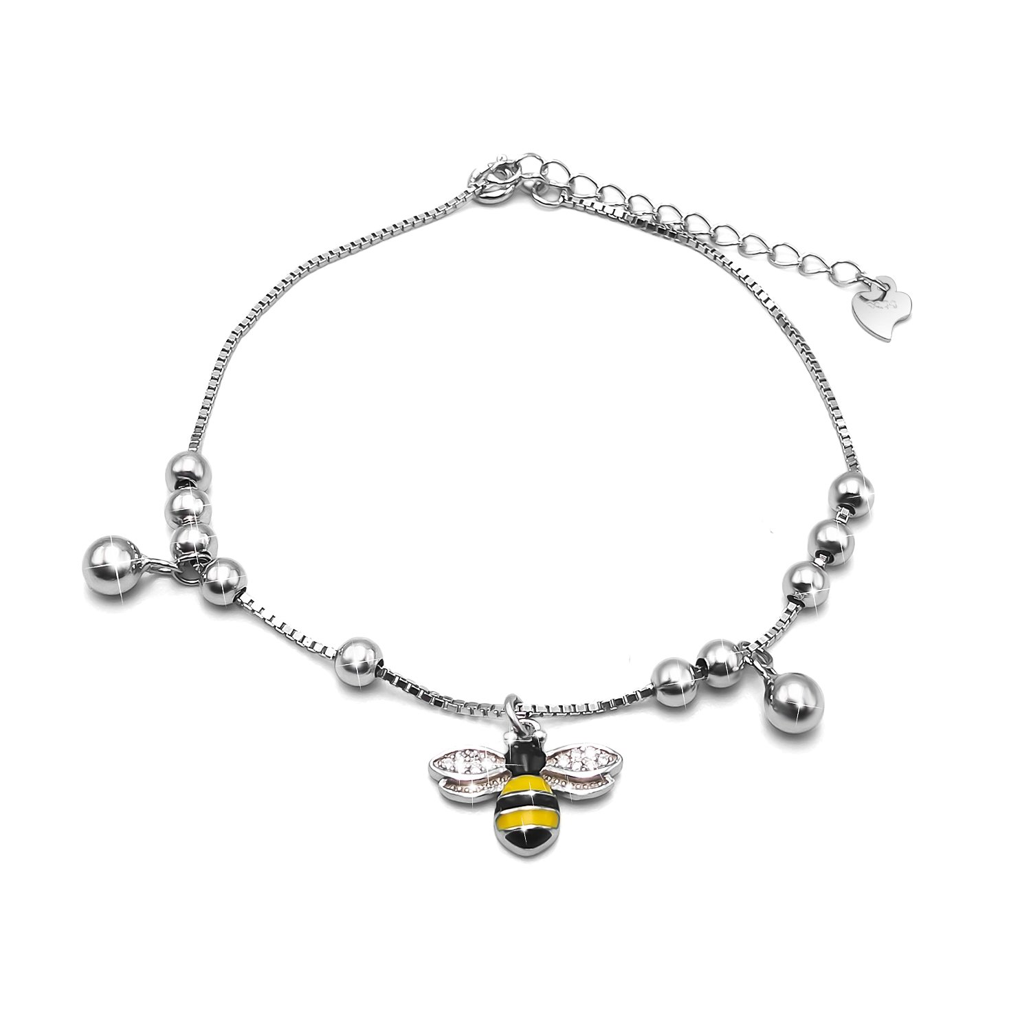 Women Queen Bee Adjustable Anklet Big Bracelet 925 Sterling Silver Lady Girls Children Foot Chain Jewellery Gift for Her(Length: 20+4cm) MAX jewellery JL-2584