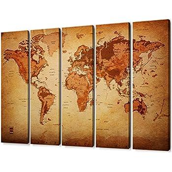 Amazon Com Large 5 Panel Vintage World Map Painting Canvas Prints
