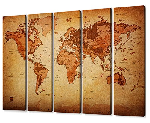Large 5 Panel Vintage World Map Painting Canvas Prints Wall Art Framed Pictures Retro Leather Pattern Background Map Of The World Artwork Elevation Tints for Home Office Kitchen Decoration 60 -