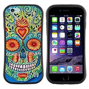 """Pulsar iFace Series Tpu silicona Carcasa Funda Case para Apple iPhone 6+ Plus / 6S+ Plus (5.5 inch!!!) , Daisy Cráneo floral del corazón la muerte de Primavera"""""""