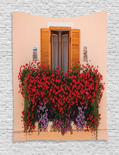Ambesonne Shutters Decor Collection, Photo of Window with Fresh Flowers Mediterranean Summertime Traditional House, Bedroom Living Room Dorm Wall Hanging Tapestry, Red Peach Green