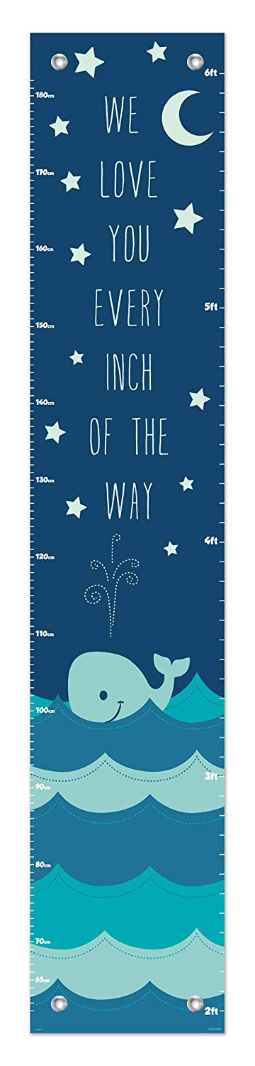 Nautical Gifts for Kids Love You Every Inch of The Way Aquatic Decor Blue Whale Height Growth Chart
