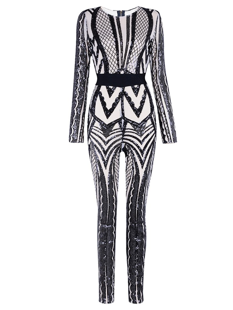 Tina Beauty Sexy Nude Mesh Black Sequins Zip Back Long Sleeve Jumpsuits Small