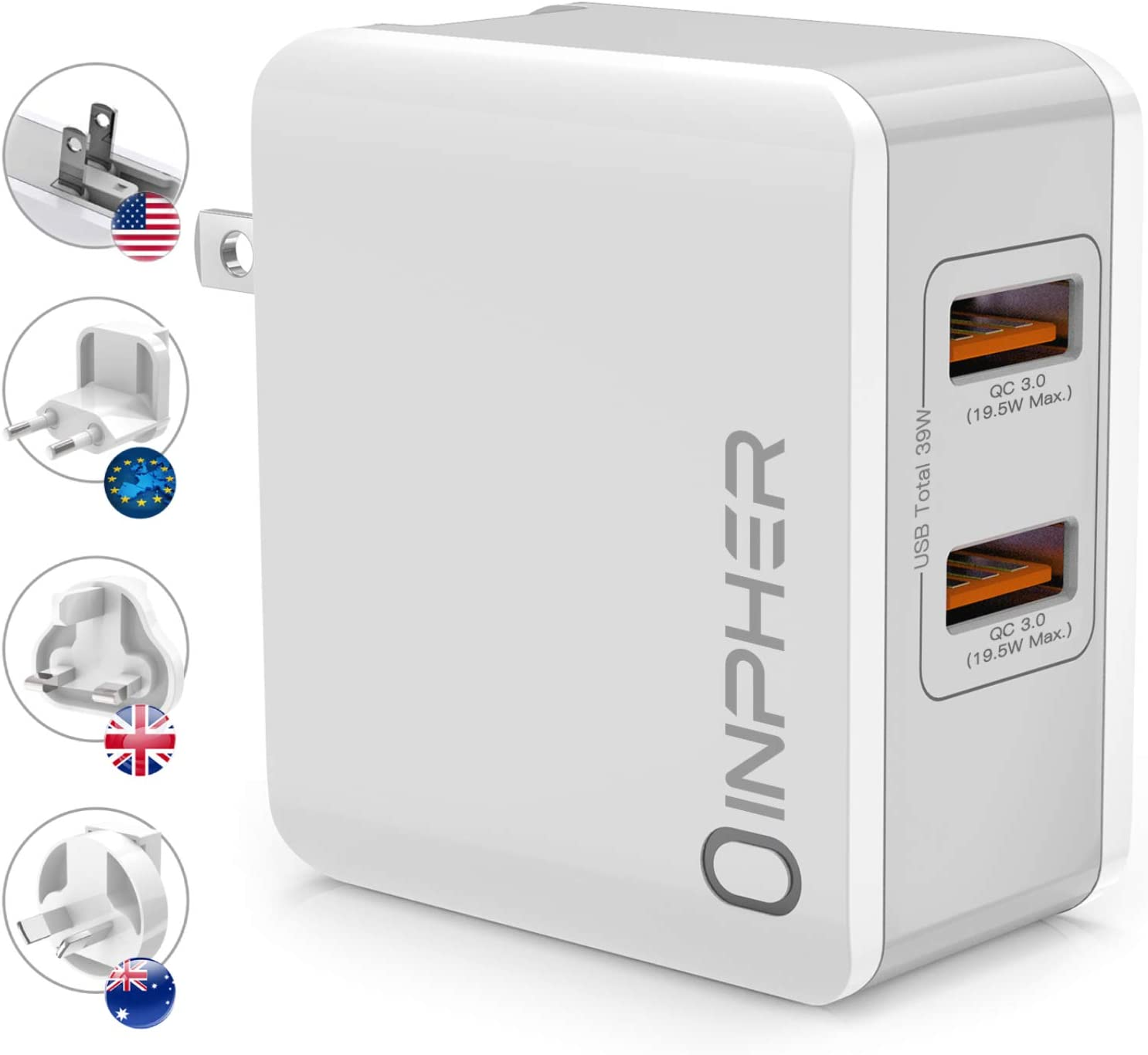 Quick Charge 3.0 39W Dual USB Wall Charger, Inpher Universal Travel Adapter with Replaceable UK/EU/AU Plug, SmartID Technology Compatible Samsung Galaxy, iPhone, iPad, Google Pixel,Tablet and More
