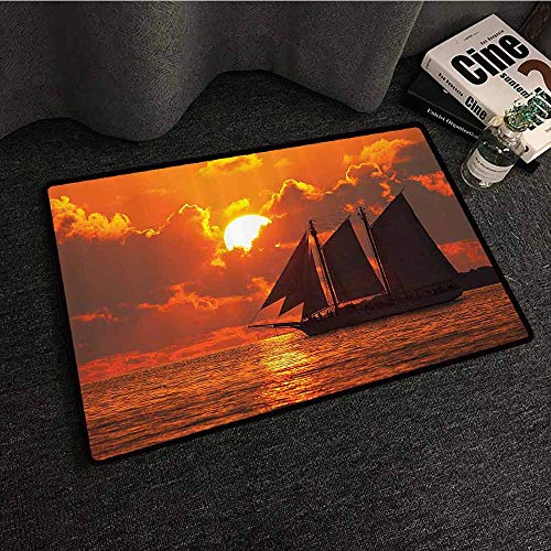 Sailboat Decor Outdoor Door mat A Boat Sailing in Front of A Sunset in Key West Non-Slip Backing W35 xL59 Florida Sundown Tropical (Best Pizza In Key West)