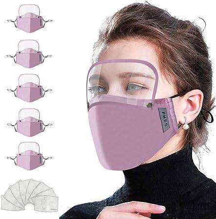 IUTE 5 𝗠𝗔𝗦𝗖𝗔𝗥𝗜𝗟𝗟𝗔𝗦 Algodón Reutilizables con Pantalla Protección Facial y 10 Filtros para Mujeres, Lavables (Rosa): Amazon.es: Hogar