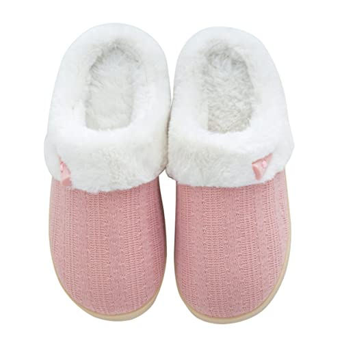9090bb83928592 Comfort Memory Foam Plush Slipper, Knitted Winter Slippers, Wool-Like Plush  Fleece Lined House Shoes Indoor, Anti-Slip Rubber Sole Slipper, for Women  and ...