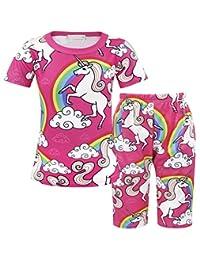 AmzBarley Unicorn Baby Girls Clothes Pajamas Sets Sleepwear Kids Toddler Short