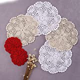 "Artwork Crochet Lace Doilies Table Placemats 8"" Round White & Beige Can be used as table toppers centerpiece mats perfect complement to any room and will fit any table topper decor 6 Pcs"