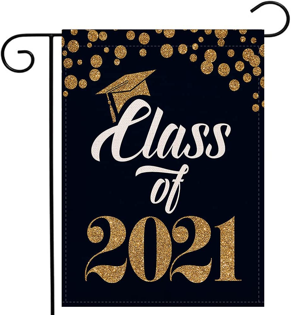 Class of 2021 Congratulations Garden Flag 12.5×18 Inch Vertical Double Sided Diploma Cap College 2021 Graduation Yard Outdoor Decoration