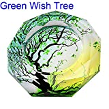 CSKB Green Wish Tree Of Life Pattern Crystal Cigarette Ashtray,Ash Holder Case,Home Office