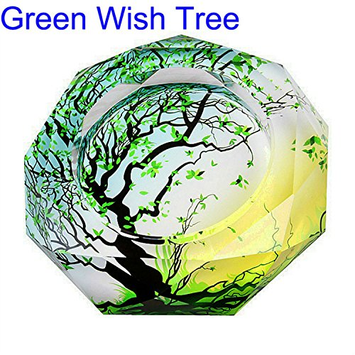 CSKB Green Wish Tree Of Life Pattern Crystal Cigarette Ashtray,Ash Holder Case,Home Office Beautiful Decoration,Round ()