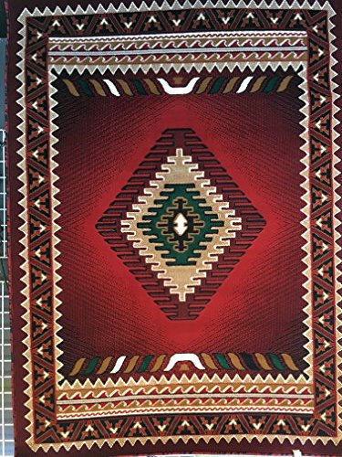 South West Native American Area Rug Red Design D143 (8ftx10ft)