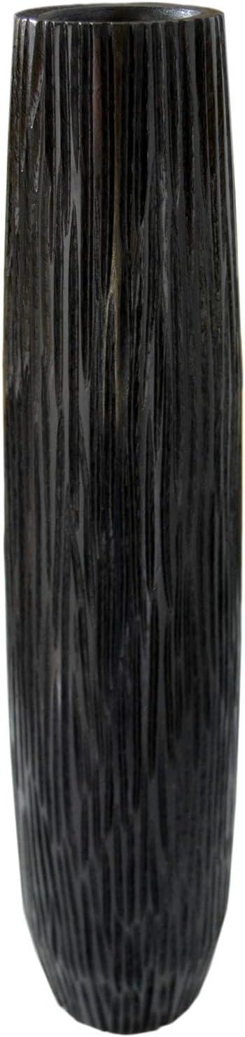 roro Modern Seashell Etched Straited White Vase (22 Inch, Jet Black)