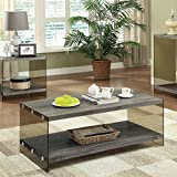 Coaster Contemporary Grey Coffee Table with Glass Sides