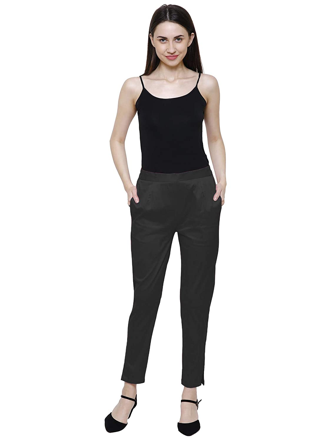 Saundarya Women's Cotton Slim Fit Lycra Trousers/Pants/Chinos