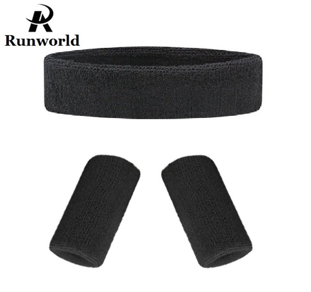 激安/新作 runworld汗止めバンドヘッドバンド& Wristbandsセット、Perfect for Runningサイクリングテニスサッカーバスケットボールとすべてのスポーツ – Wristbands ( 1ヘッドバンド+ ( for 2 Wristbands ) B0775Y3WGY ブラック ブラック, 八束郡:f8456223 --- obara-daijiro.com