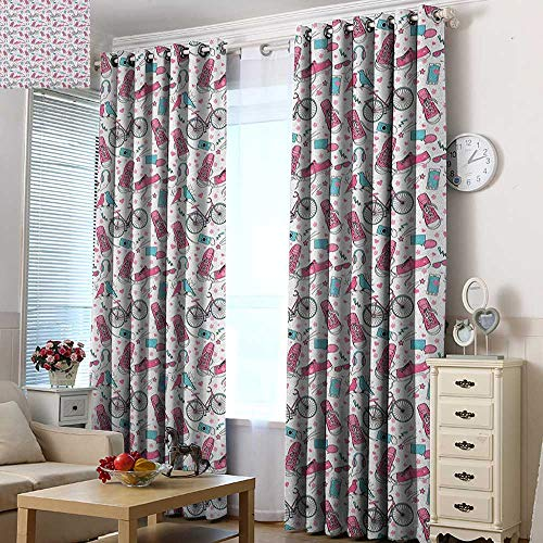 - Acelik Grommet Window Curtains Bicycle Teenager Girls Hipster Pink Casual Shoes Bicycle Birds Headphones Glasses Camera for Bedroom Grommet Drapes 84