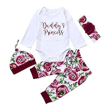 3a427101d428 Amazon.com  Newborn Baby Girls Letter Print Romper Tops+Floral Print ...