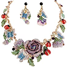 Ever Faith Flower Cluster Butterfly Ladybug Austrian Crystal Necklace Earrings Set