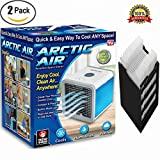 Arctic Air Personal Space Cooler 3 in 1 USB Mini Portable Air Conditioner Humidifier Purifier Desk Fan with 3 Speed 4 Foot Cooling Area 7 Color LED Night Light and A Replacement Filte for Office Home