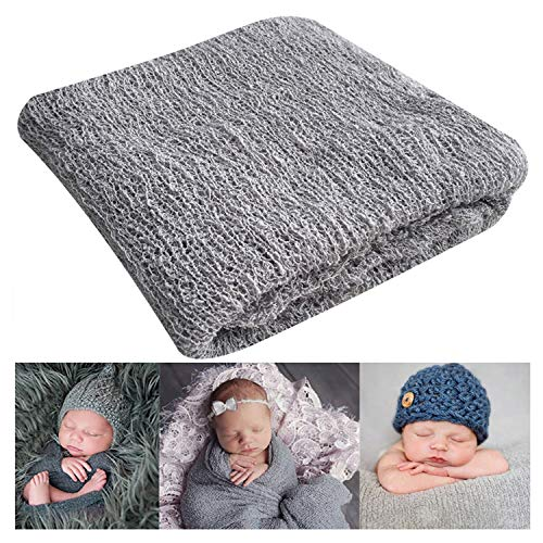 - Newborn Photography Props Newborn Baby Stretch Long Ripple Wrap Yarn Cloth Blanket by Bassion, Grey, 16
