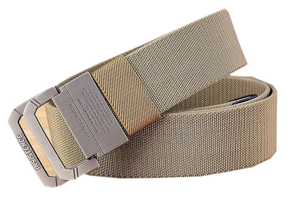 JANYN Men Double Ring Buckle Woven Canvas Belt Elastic Stretch Tactical Belt