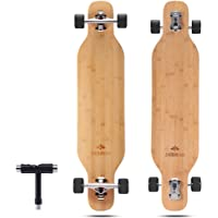 DEBROO Flexible Bamboo Longboard Skateboards Cruiser for Adults