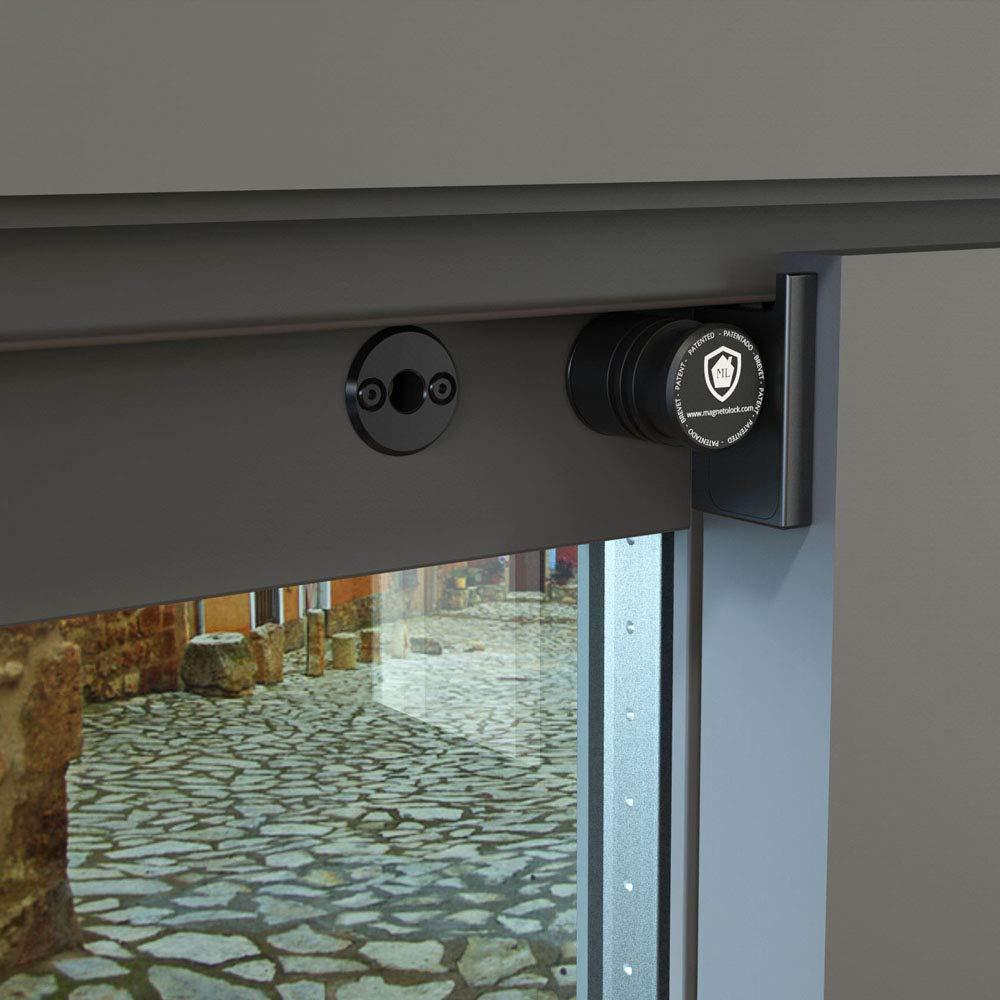 Magnetolock V2.0 REMACH.Bloqueo de seguridad para ventanas y puertas correderas. Bloqueo con ventana cerrada y abierta. Ajustable posición de ventilación seguridad niños, bebé y mascotas.(Negro)