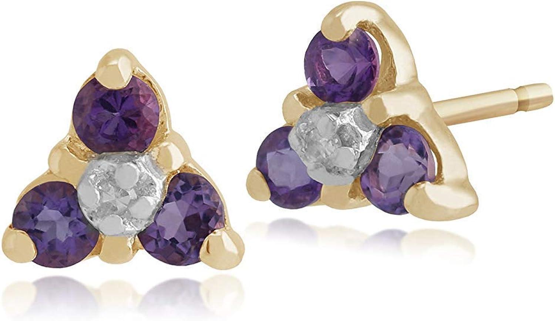 Gemondo Amatista Pendientes De Presión, 9 Ct Oro Amarillo Amatista & Diamante 3 Piedras Pendientes Racimo
