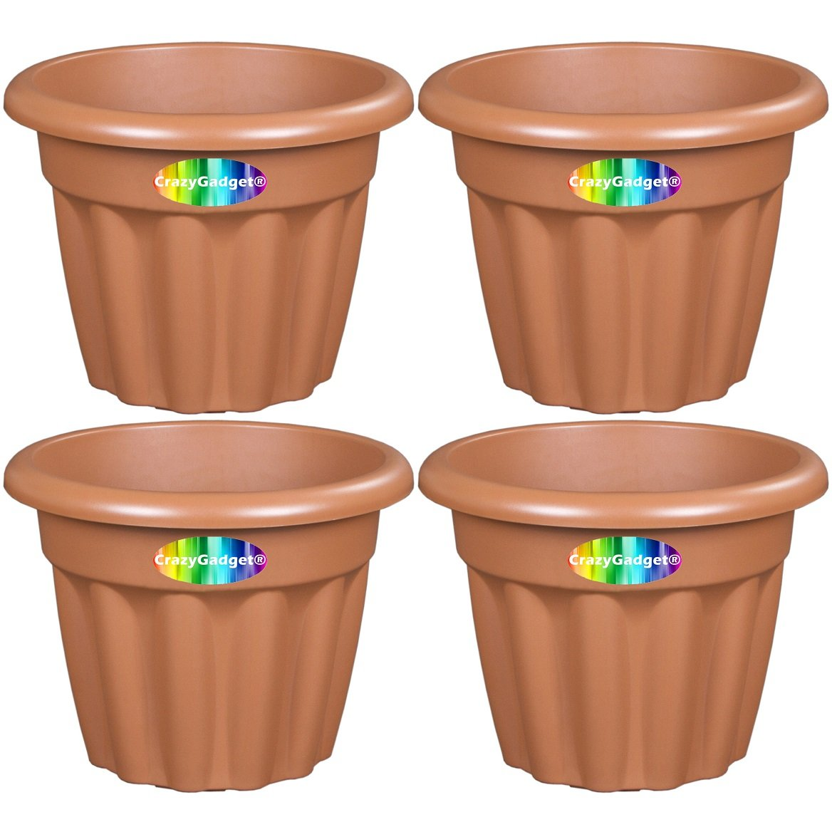 4 x CrazyGadget Large Planter Round Plastic Garden Flower Plant Herb Pot Contemporary Design Style - Indoor and Outdoor (Lime Green, 25cm)