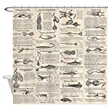 Fishing Lure Shower Curtain CafePress Fishing Lures Vintage Antique Newsprint Shower Cur Decorative Fabric Shower Curtain (69