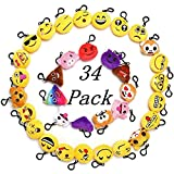 "Toys : Emoji Party Favor For Kids, 34 Pack 2"" Emoji Keychain Party Decoration Supplies, Mini Plush Pillows Gifts For Goody Bag Filler"