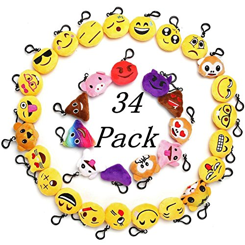 "Emoji Party Favor For Kids, 34 Pack 2"" Emoji Keychain Party Decoration Supplies, Mini Plush Pillows Gifts For Goody Bag Filler"