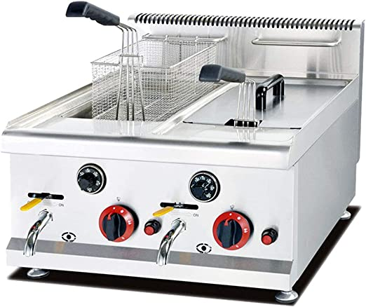 Freidora de gas de acero inoxidable, 14 L, 2 recipientes freidora Gastro. Las dos cubetas se pueden utilizar por separado.: Amazon.es: Hogar